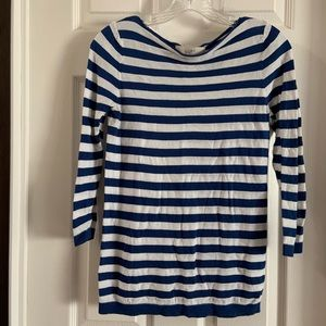 Loft Blue/White Striped Raw Boatneck LS Top S